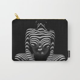 1152-MAK Abstract Nude Black & White Zebra Striped Woman Topographic Feminine Body Carry-All Pouch