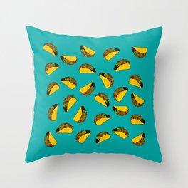 Flock of Gerrys Teal Taco Print Throw Pillow