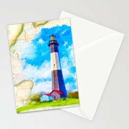 Tybee Island Lighthouse - Vintage Nautical Map Collage Stationery Cards