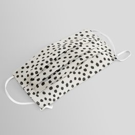 Preppy brushstroke free polka dots black and white spots dots dalmation animal spots design minimal Face Mask