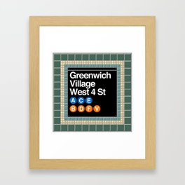 subway greenwich village sign Framed Art Print