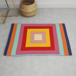Retro Rainbow Colored Squares Rug