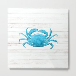 Nautical Blue Crab Driftwood Dock Metal Print