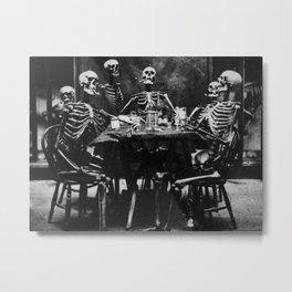 Six Skeletons Smoking Metal Print