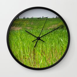 Beautiful spring landscape in Tuscany countryside, Italy. focus on foreground Wall Clock