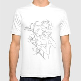 Minimal Line Art Woman with Peonies T-shirt
