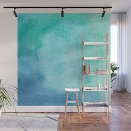 Blue Green Turquoise Watercolor Texture Wall Mural