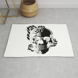 To the core, graphic rose skull Rug