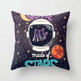 We are all made of stars, typography modern poster design with astronaut helmet and night sky Throw Pillow