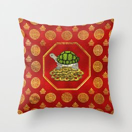 Golden Tortoise / Turtle Feng Shui on red Throw Pillow