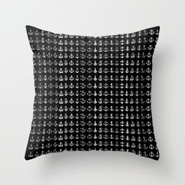 black and white anchor Throw Pillow