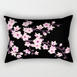 Cherry Blossom Pink Black Rectangular Pillow