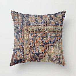 Vintage Woven Navy Blue and Tan Kilim  Throw Pillow
