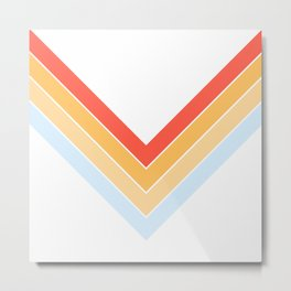 Symmetric V Shape Colorful Classic Retro Stripes Oneuli Metal Print