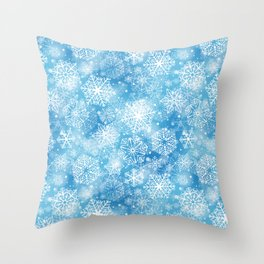 Snowflakes on blue  Throw Pillow