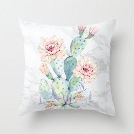 Watercolor Cactus Marble Throw Pillow