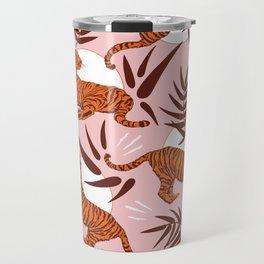 Vibrant Wilderness / Tigers on Pink Travel Mug