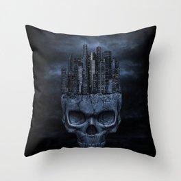 Gothic Skull City Throw Pillow