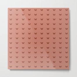 Minimal Butterfly Pattern - Red Metal Print