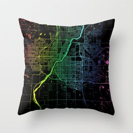 Saskatoon, SK, Canada, City, Map, Rainbow, Map, Art, Print Throw Pillow