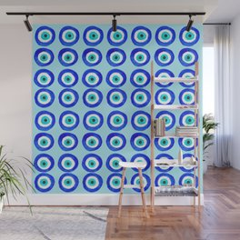 Evil Eye Amulet Talisman - on turquoise Wall Mural
