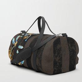Steampunk Design with Mechanical Dragonflies Duffle Bag