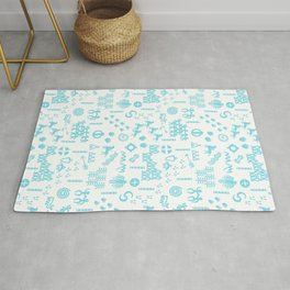 Peoples Story - Turquoise and White Rug