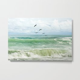 Birds flying above ocean Metal Print