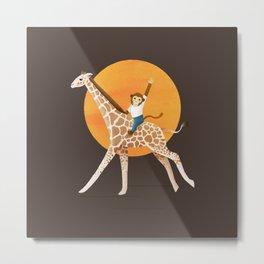 Giraffe and Monkey | Color Illustration | Brown Metal Print
