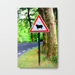Sheep Crossing Metal Print
