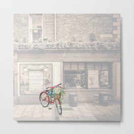 Red Bicycle in front of a Kennedys Bar Ireland Metal Print