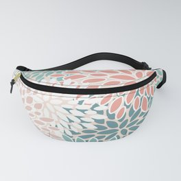 Modern Floral Prints, Teal, Peach, Coral, Abstract Art, Colour Prints Fanny Pack