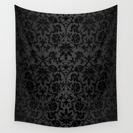 Black Damask Pattern Design Wall Tapestry