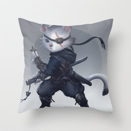 Ninja cat Throw Pillow