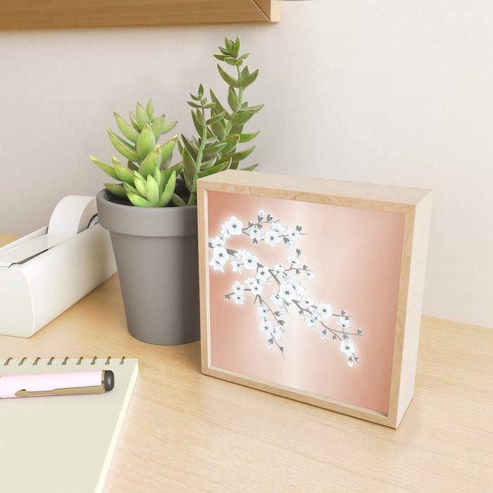 Rose Gold White Cherry Blossom Framed Mini Art Print