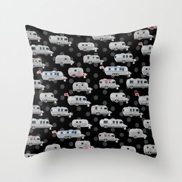 Tin Can Travel Trailers on Black Throw Pillow