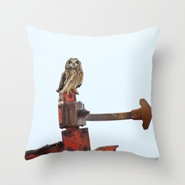 Short eared owl farming Throw Pillow