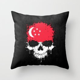 Flag of Singapore on a Chaotic Splatter Skull Throw Pillow