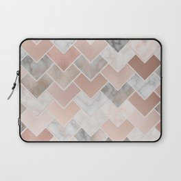 Rose Gold and Marble Geometric Tiles Laptop Sleeve
