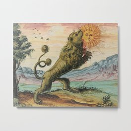 The Lion Eating The Sun Alchemy Illustration Metal Print