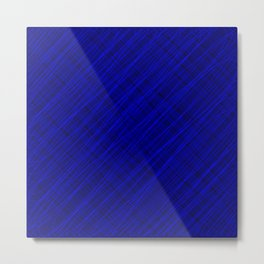 Royal ornament of their blue threads and dark intersecting fibers. Metal Print