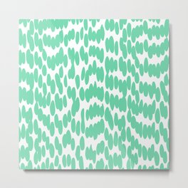 Cute Dot, Fun, Abstract Art, Mint Green Metal Print