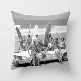 Vintage Beach Party Mustang Throw Pillow