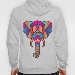 Elephant | Geometric Colorful Low Poly Animal Set Hoody