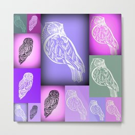 purple owls with pink and green Metal Print