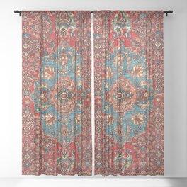 Bidjar Antique Kurdish Northwest Persian Rug Print Sheer Curtain