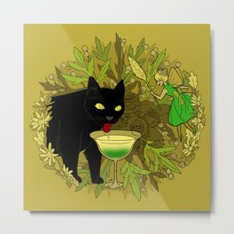 cat and green milk Metal Print