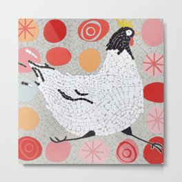 Mosaic Running Chicken Metal Print
