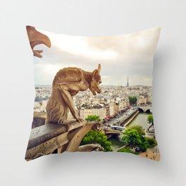 Gargoyles in Paris, France, Basilica of Notre Dame Throw Pillow