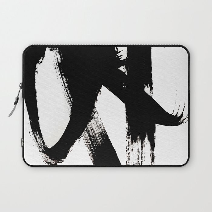 Brushstroke 2 - simple black and white Laptop Sleeve
